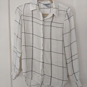 H&M Windowpane Blouse Button Long Sleeve Shirt